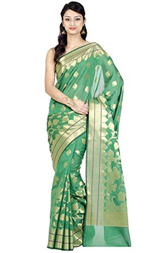 Chandrakala Women's Green Cotton Silk Blend Banarasi Saree,Free Size(1133GRE)