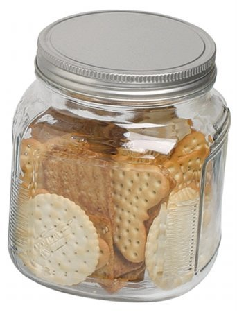 Anchor Hocking 85812R 32 Oz Cracker Jar With Brushed Aluminum Lid, Clear
