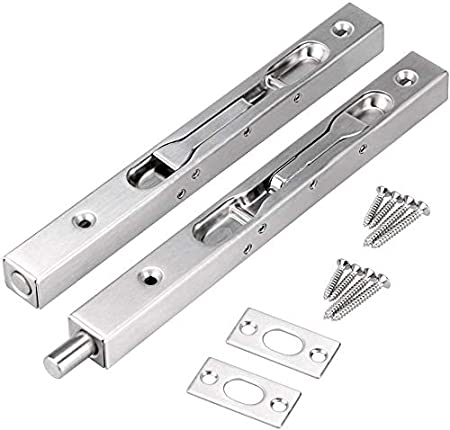 2 Pack Strike and Screws Ouioui Stainless Steel 8 Inch Premium Quality Security Door Flush Bolt Guard with Powerful Spring Door Slide Bolt Lock