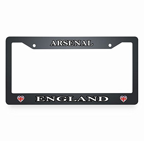 Jesspad Arsenal England License Plate Frame Flag Heart License Plate Cover Black Auto Tag Holder Personalized Car Tag Frame Novelty Car Tag Holder,12 X 6 Inches -
