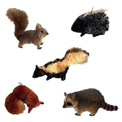 Christmas Tablescape Decor - Assorted Buri Woodland Animal Ornaments - Set of 5 by Kurt Adler Includes a fox, skunk, raccoon, squirrel and porcupine