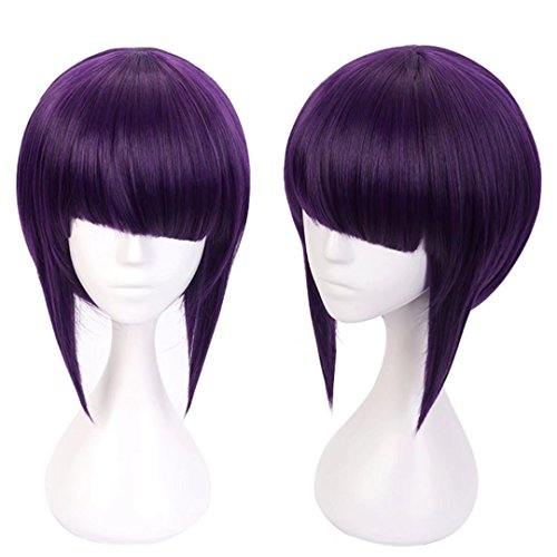 COSPLAZA Cosplay Wigs Short Unbalanced Bangs Purple Rocking Girl Hero Synthetic Anime Costume -