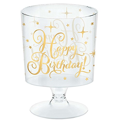 amscan Gold Birthday Mini Plastic Pedestals Party Supplies, Gold, 2 oz., 30ct