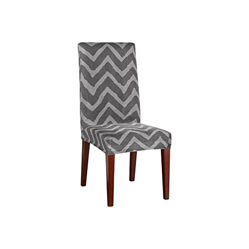Sure fit str plush chevron short dining room chair gray furniture chairs kitchen chairs - Plush dining room chairs ...