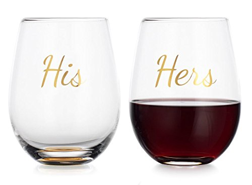 Elegant Home Personalized Gift Set of Two 19 Oz. His & Hers Stemless Wine Glass - unique Novelty - Gag Gift.