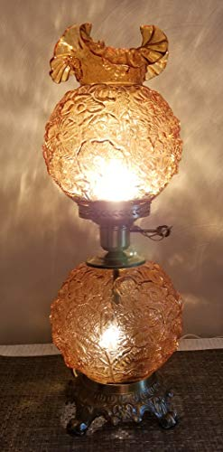 Fenton Amber Glass Poppy Pattern Gone With the Wind Lamp - electric - Original USA