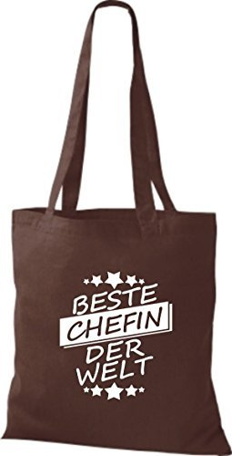 ShirtInStyle Bolso de tela Bolsa de algodón Mejor CHEFIN der Welt Marrón
