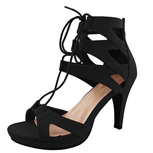 New Sexy 4 Inch Heel - TOP Moda Women's Pebble-2 Gladiator Lace Up Bootie Sandals, Black 9