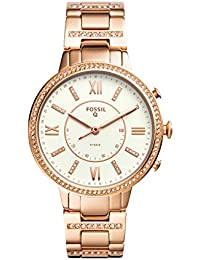 Q Women's Virginia Stainless Steel Hybrid Smartwatch, Color: Rose Gold-Tone (Model: FTW5010)