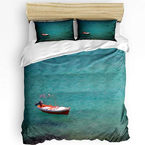 - YEHO Art Gallery Twin Size Luxury 3 Piece Duvet Cover Sets for Boys Girls,Boat on The Clear Lake,Oil Painting Bedding Set,Include 1 Comforter Cover with 2 Pillow Cases
