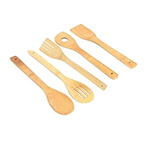 Wooden Spoon Set - Non-Stick, Heat Resistant Wooden Bamboo Cooking & Baking Kitchen Utensil Tool, Set of 5