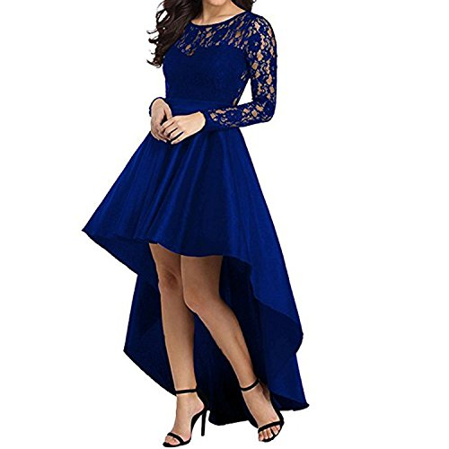 Women's High Low Long Sleeve Prom Dress Lace Cocktail Party Gowns (US 16-18) XL