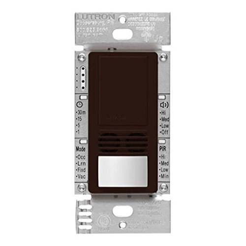 6 Amp Max. PIR/Ultrasonic Vacancy Sensor - Single Pole/3-Way - 120/277V Brown - Lutron MS-B102-V-BR