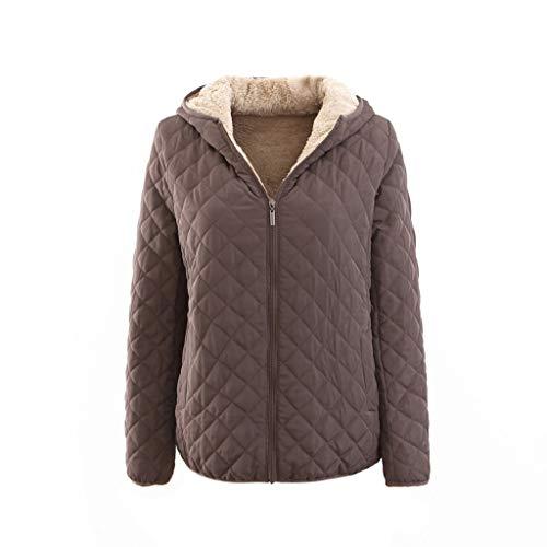 Pinstripe Blazer Lined (Creazrise Women's Casual Winter Warm Cotton Lined Zip Up Hooded Sweatshirt Jacket Coat (Khaki,XL))