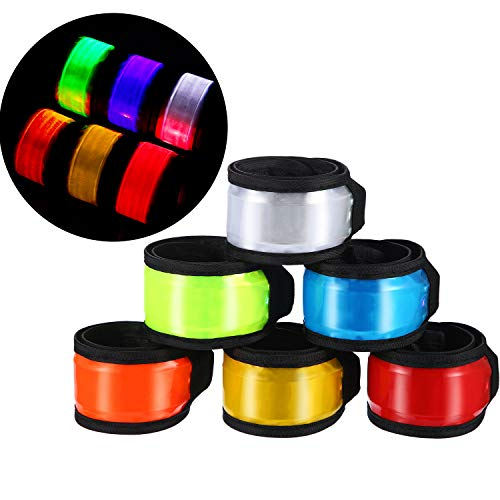 (Tatuo 6 Pieces Reflective LED Armband LED Slap Bracelets LED Light Wrist Bands Replaceable Battery Night Safe Gear for Cycling Walking Running Outdoor Sports)