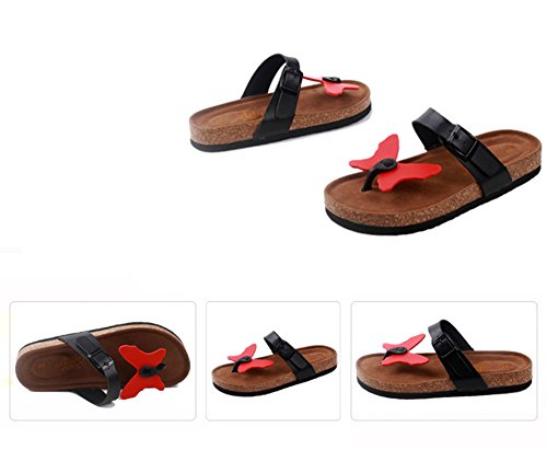 Mujer sandalias planas de la playa Zapatos Peep-dedo del pie Flip Flop Chanclas Chancletas 7