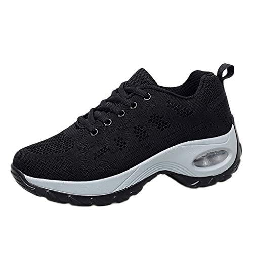 (Shusuen Women's Leisure Mesh Thick Bottom Athletic Sneakers Hidden Heel Summer 2019 Shoes Loafers Black)