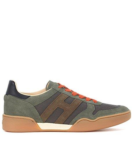 Hogan Sneaker H357 in Suede e Mesh Verde Verde