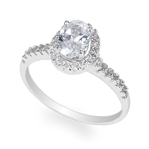 JamesJenny Ladies White Gold Plated 1.0ct Oval CZ Halo Ring Size 7.5