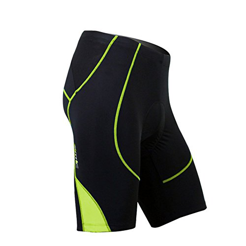 SANTIC Cycling Men's Shorts Biking Bicycle Bike Pants Half Pants 4D COOLMAX Padded Hi Viz (Bike Apparel)