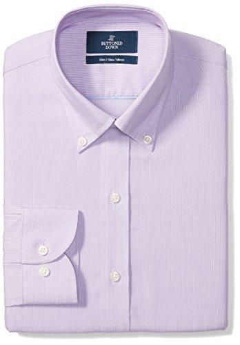 BUTTONED DOWN Men's Slim Fit Button-Collar Pattern Non-Iron Dress Shirt, Purple Mini Houndstooth, 16