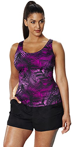 Aquabelle-Womens-Plus-Size-Chlorine-Resistant-Sport-Cargo-Shortini-24-Pink