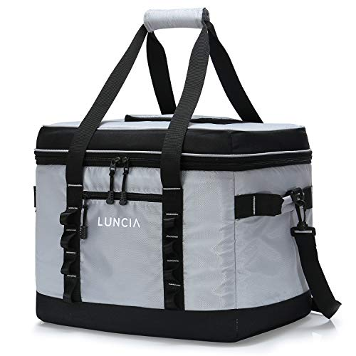 LUNCIA Cooler Bag 60-Can Leakproof Collapsible Cooling Bag, Insulated Portable Tote, 30L Soft Sided Cooler for Picnic, Camping, Hiking, Grey