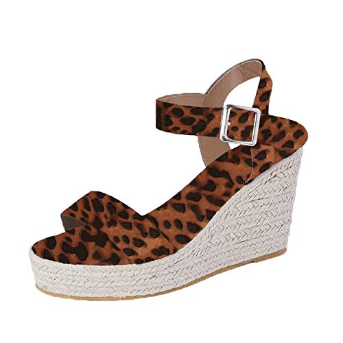 (XMWEALTHY Women's Wedge Sandals Casual Sandals Shoes Summer Ankle Buckle Open Toe Wedges Heels Size 6 Leopard)