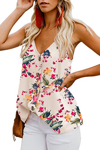 noabat Beige Shirts for Women Casual Summer Tops Sleeveless Tanks V Neck Medium