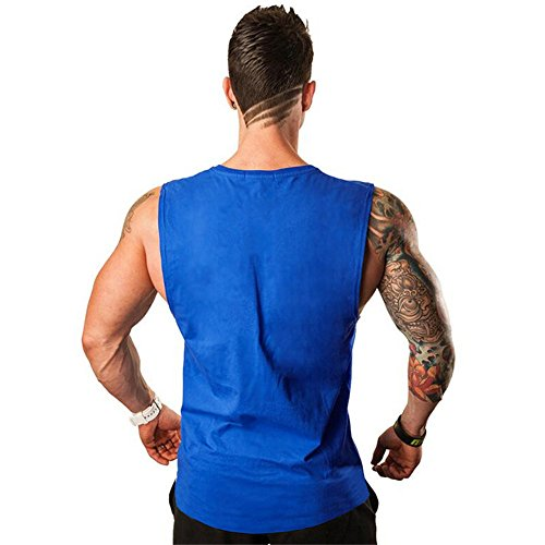 De Blouse Singlet Fitness Couleur Unie Top Gymnastique shirt Bleu lin Day Musculation vêtements Vêtements Oversize Sport Débardeur Sous Sans Manches Hommes Gilets Muscle T n11qTS