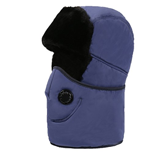 SOOCO Mens Warm Bomber Hat Máscara A Prueba De Viento Winter Ear Flap Unisex Ushanka Para El Esquí De Patinaje Hikin SapphireBlue
