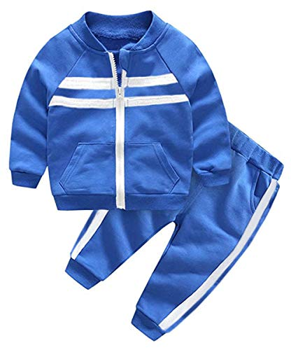 Kids Outfit, Varsity Track Jacket with Stripes & Sports Jogger Sweat Pants Set Sweat Suit Tracksuit for Toddlers, Little Boy & Girls, Royal Blue, 6-7 Years = Tag 13