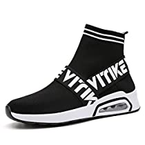 Running Shoes Fashion Breathable Sneakers Air Cushion Athletic Socks Shoes Knit Pattern Mesh Lightweight Gym Casual Shoes(Womens/Boys/Girls)