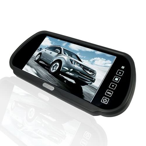 BW 7 Inch 16:9 TFT LCD Widescreen Car Rearview Mirror Monitor with Touch Button, 480(W)x 234(H) Screen Resolution, Car Monitor Mirror for Auto Support Two Ways Of Video Output, V1/V2 Selecting