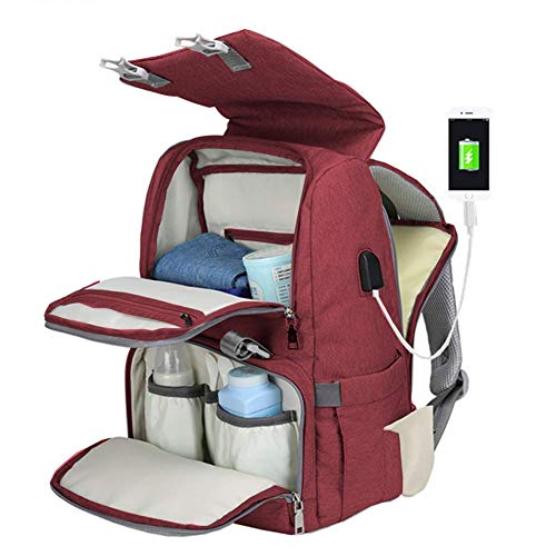 Diaper Bag Backpack for Mom & Dad Multifunction Waterproof Large Capacity Travel Backpack Maternity Baby Nappy Bags,with Stroller Straps,Changing Pad,USB Charging Port,Durable and Stylish,Red