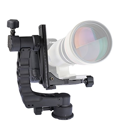 Gimbal Head for Telephoto Lenses by ProMediaGear: Camera Accessory for Outdoor and Wildlife Photography, CNC Precision Machined Parts, Smooth Panning, Lightweight Aluminum, Scratch Resistant ()