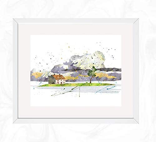 Amazon Com Island With House Scenery Prints Spirited Away Watercolor Nursery Wall Poster Holiday Gift Kids And Children Artworks Digital Illustration Art Handmade