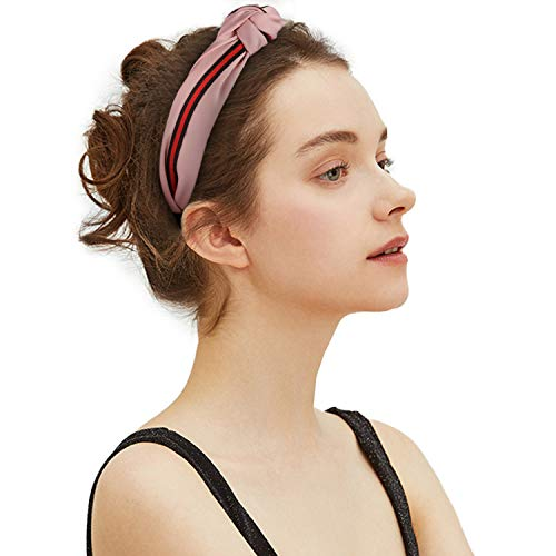 Yukoi Women Cross Knot Hair Hoop Wide Stripes Cloth Hairbands Headbands Fashion Hair Accessories for Different Outfits 3 PCS