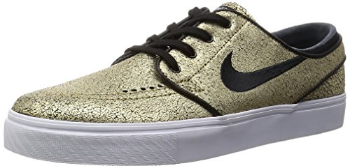 Nike SB Zoom Stefan Janoski Leather Metallic Gold / White / Gum Light Brown / Black Skate Shoes-Men