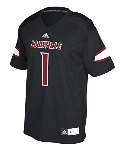 Louisville Cardinals 1 Black Adidas Replica Polyester Football Jersey (Medium)