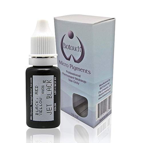 (15ml MICROBLADING supplies Authentic BioTouch product JET BLACK Permanent Makeup Pigment Cosmetic Tattoo Ink LARGE Bottle permanent makeup supplies microblading pigment Eyebrow Eyeliner pigment)