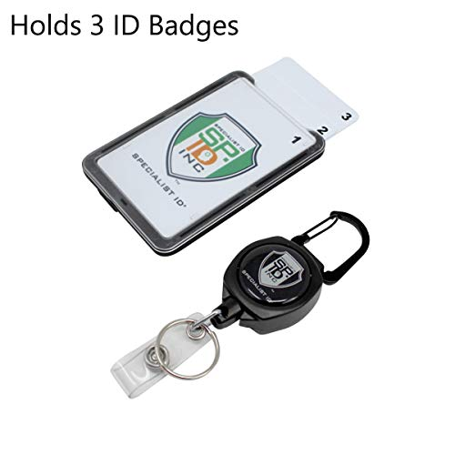Super Heavy Duty Sidekick Retractable Badge and Key Reel - Carabiner Clip - with Three Card ID Badge Holder (Holds 3 I'd Badges) by Specialist ID