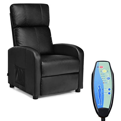(Giantex Massage Recliner Adjustable Chair Single Sofa, Padded Seat Cushion and Backrest, PU Leather, Remote Control, Home Theater Seating, Leisure Lounge Chaise, Living Room Furniture Recliner (Black))