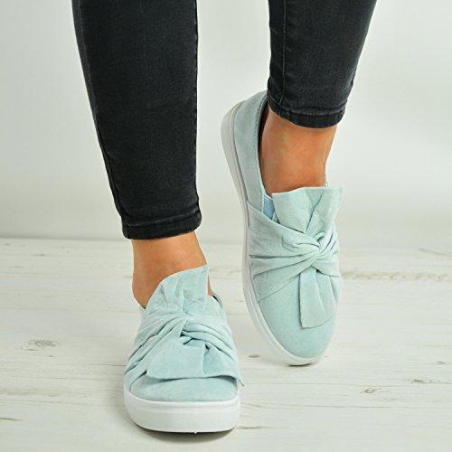 Bleu Fashion Sneakers Arc tennis chaussures 3 Femmes Pompes New Chaussures UK Dames Slip Clair Brand Casual Filles de Taille On 8 Cucu Confortables Baskets BOvdPqYqn