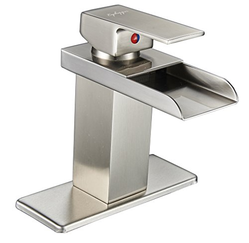 Nickel Vessel Lavatory Spouts (Eyekepper Nickel Brushed Waterfall Bathroom Sink Vessel faucet Lavatory Mixer Tap Open Channel Water Spout)