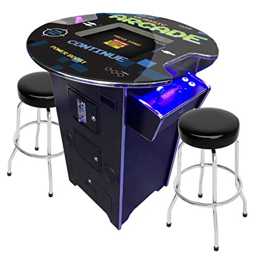 Creative Arcades Full-Size Commercial Grade Pub Arcade Machine | 60 Classic Games | 2 Sanwa Joysticks | 2 Stools | 3-Year Warranty | Round Glass Top