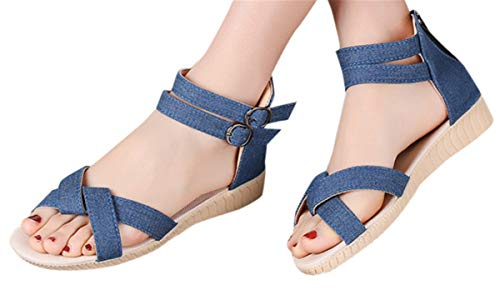 Canvas Denim Sandals Shoes Women Flat Wedge Sandals Anti-Slip Sandals Casual Summer Beach Shoes by Gyouanime