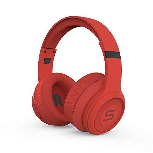 SoMi Infinite Wireless Bluetooth Headphones, Over Ear Headset, Foldable, Adjustable, Comfortable Protein Earmuffs w/Built-in Mic and Wired Mode for PC/Cell Phones/TV, Red