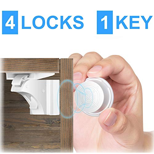 SecurityMan Magnetic Cabinet Locks for Baby Proof & Child Proofing Kitchen Cabinets and Locking Drawers with Safe Adhesive Latches for Babies, Toddlers, Kids - DIY Children Protection & Safety (4Pack)