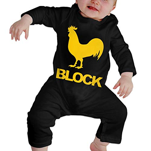 Long Sleeve Cotton Rompers for Baby Boys and Girls, Fashion Cock Block Jumpsuit Black -
